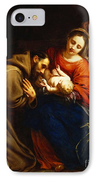 The Holy Family With Saint Francis IPhone Case by Jacob van Oost