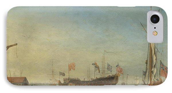 The Launch Of A Man Of War IPhone Case by Robert Woodcock
