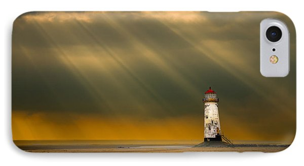 The Lighthouse As The Storm Breaks IPhone Case by Meirion Matthias