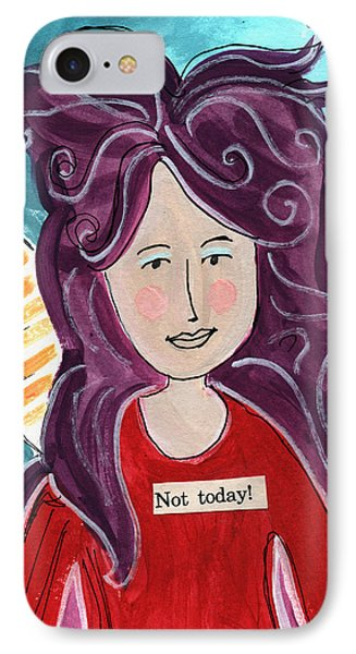 The Not Today Fairy- Art By Linda Woods IPhone Case by Linda Woods