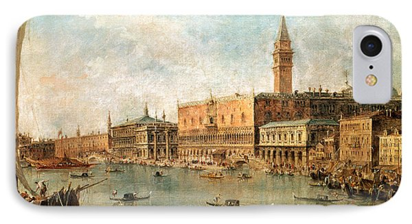 The Palace And The Molo From The Basin Of San Marco Phone Case by Francesco Guardi