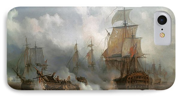 The Redoutable In The Battle Of Trafalgar, October 21, 1805 IPhone Case by Auguste Etienne Francois Mayer
