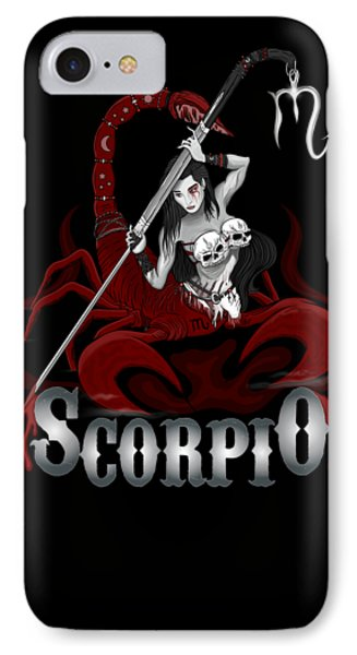 IPhone Case featuring the drawing The Scorpion - Scorpio Spirit by Raphael Lopez