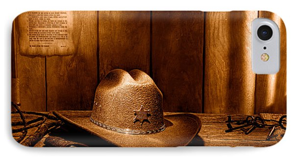 The Sheriff Office - Sepia IPhone Case by Olivier Le Queinec