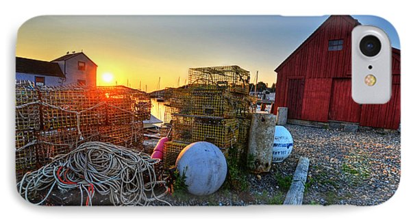 The Sun Rising By Motif 1 In Rockport Ma Bearskin Neck Lobster Traps IPhone Case by Toby McGuire