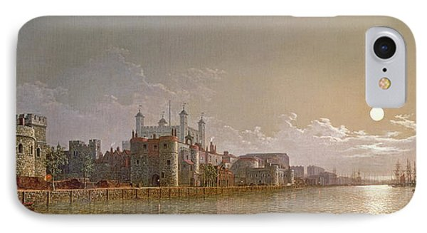 The Thames By Moonlight With Traitors' Gate And The Tower Of London IPhone 7 Case by Henry Pether