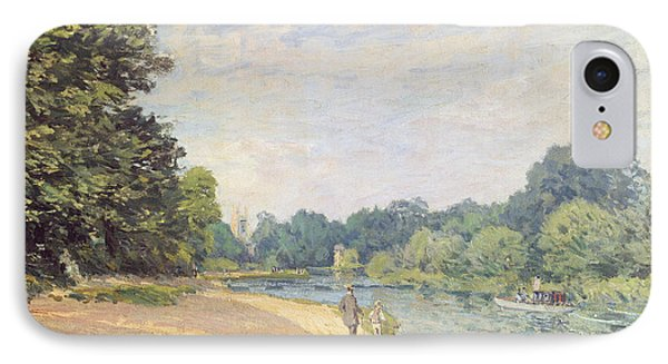 The Thames With Hampton Church IPhone Case by Alfred Sisley
