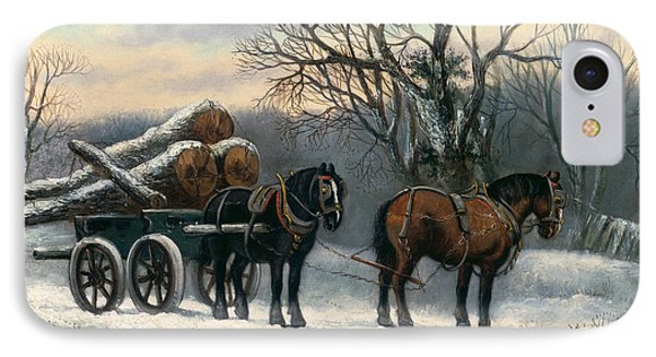 The Timber Wagon In Winter IPhone Case by Anonymous