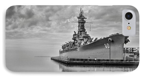 The Uss Alabama In Black And White IPhone Case by JC Findley