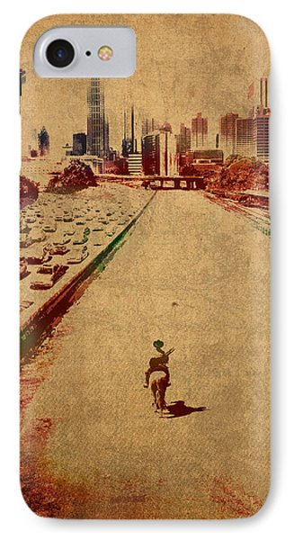 The Walking Dead Watercolor Portrait On Worn Distressed Canvas No 2 IPhone Case by Design Turnpike
