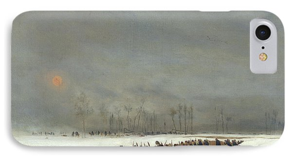The War Of 1870 An Infantry Column On Their Way To A Raid IPhone Case by Jean-Baptiste Edouard Detaille