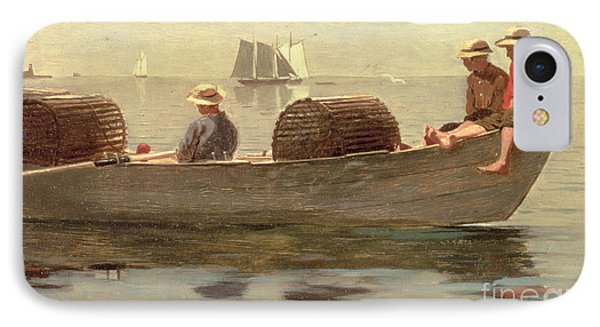 Three Boys In A Dory IPhone Case by Winslow Homer