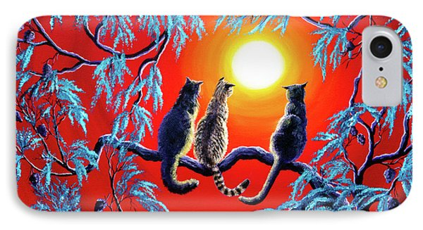 Three Cats In A Bright Red Sunset IPhone Case by Laura Iverson