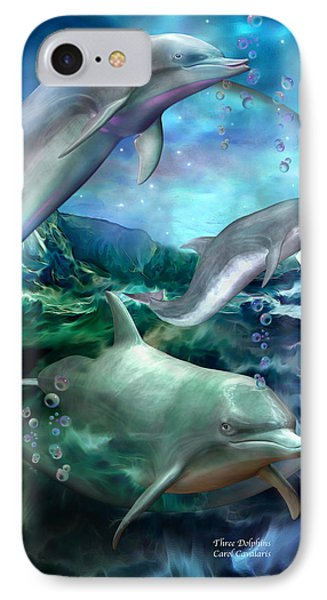 Three Dolphins IPhone Case by Carol Cavalaris