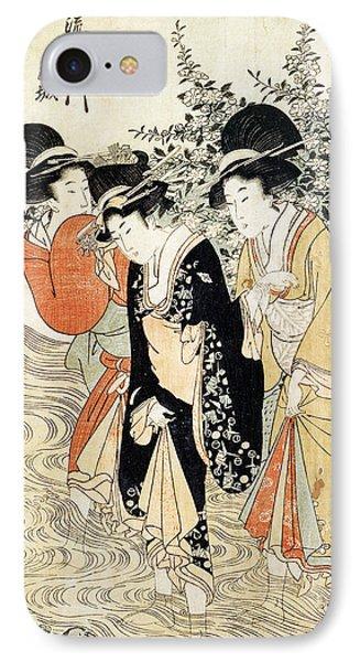 Three Girls Paddling In A River Phone Case by Kitagawa Utamaro