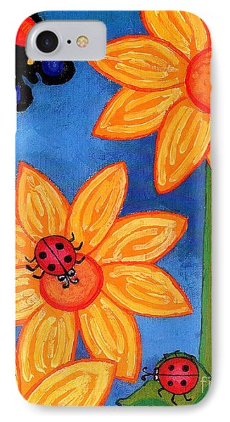 Three Ladybugs And Butterfly IPhone 7 Case by Genevieve Esson