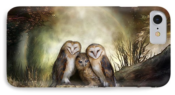 Three Owl Moon IPhone Case by Carol Cavalaris