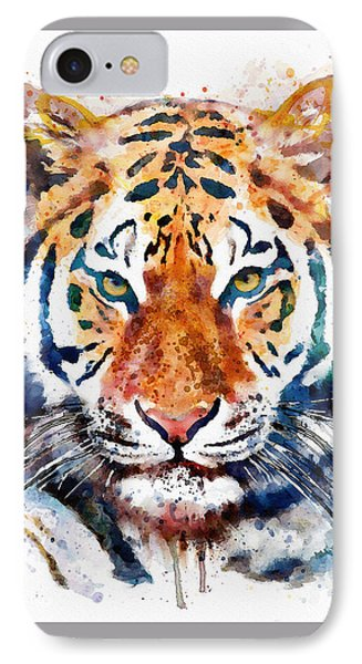 Tiger Head Watercolor IPhone Case by Marian Voicu