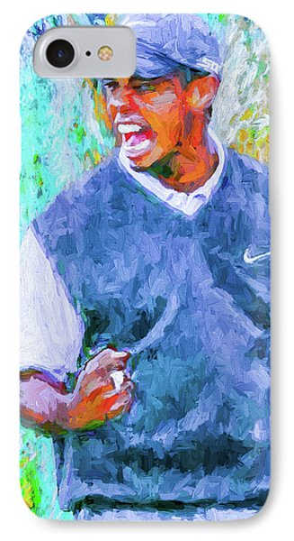 Tiger One Two Three Painting Digital Golfer IPhone Case by David Haskett