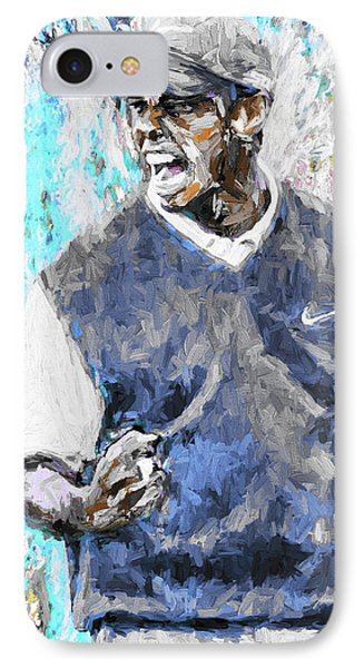 Tiger Woods One Blue Golfer Digital Art IPhone Case by David Haskett