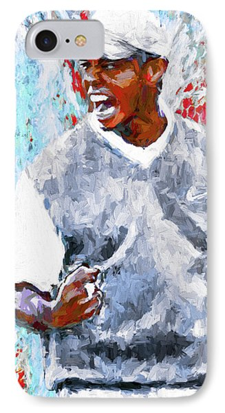 Tiger Woods One Two Red Painting Digital IPhone Case by David Haskett