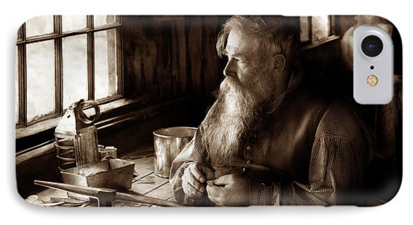 Tin Smith - Making Toys For Children - Sepia Phone Case by Mike Savad