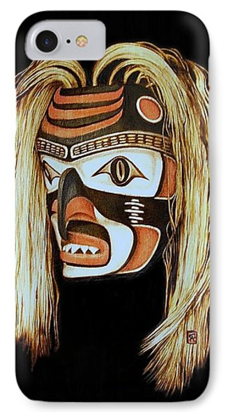 Tlingit Shark Mask In Color Phone Case by Cynthia Adams