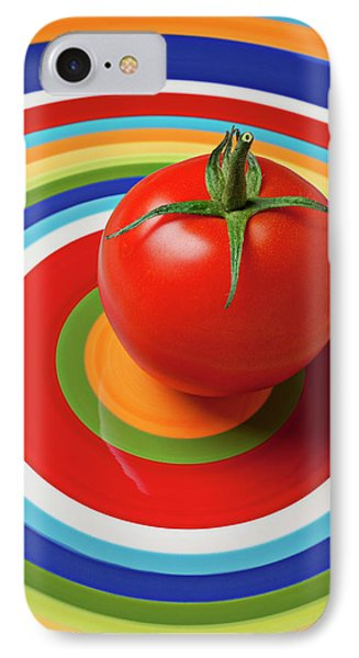 Tomato On Plate With Circles IPhone 7 Case by Garry Gay