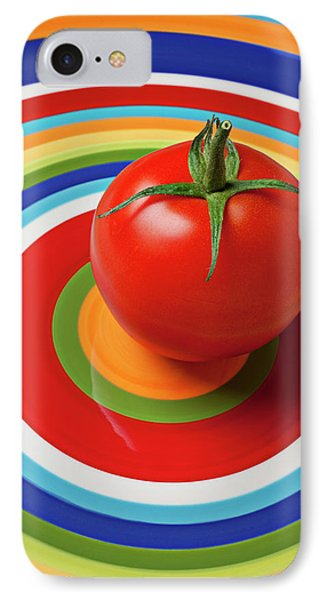 Tomato On Plate With Circles IPhone Case by Garry Gay