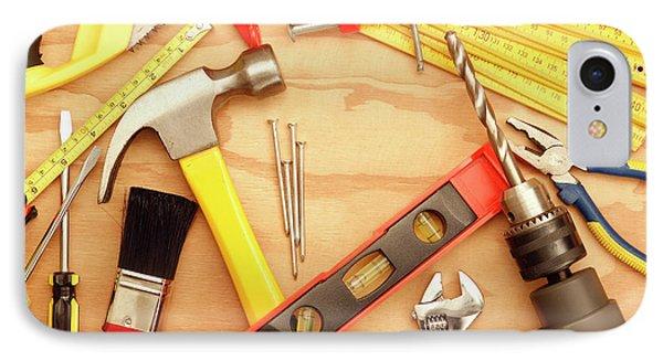Tools Arrangement IPhone Case by Les Cunliffe