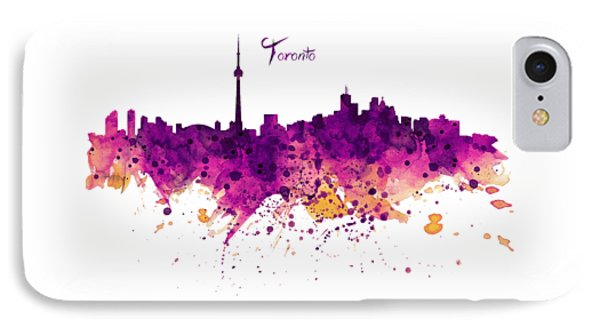 Toronto Watercolor Skyline IPhone Case by Marian Voicu