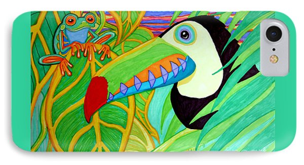 Toucan And Red Eyed Tree Frog Phone Case by Nick Gustafson