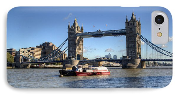 Tower Bridge With Canary Wharf In The Background Phone Case by Chris Day