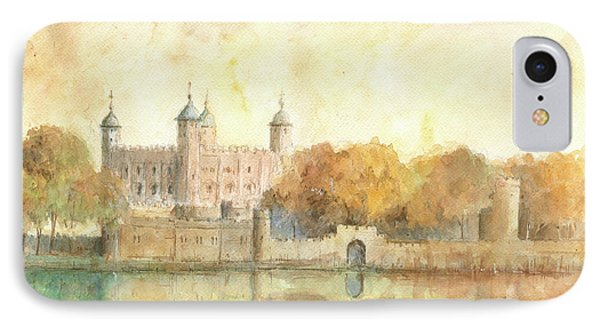 Tower Of London Watercolor IPhone 7 Case by Juan Bosco