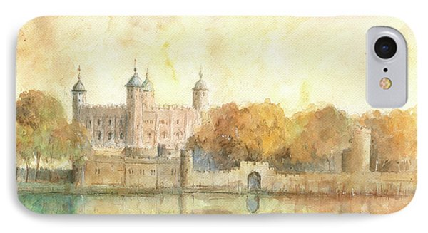 Tower Of London Watercolor IPhone Case by Juan Bosco