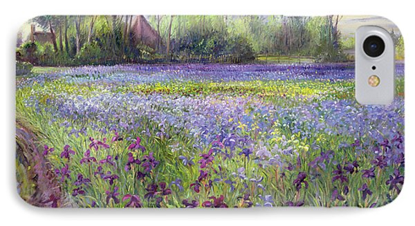 Trackway Past The Iris Field IPhone Case by Timothy Easton