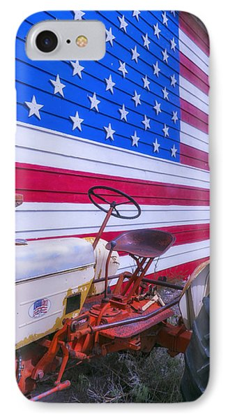 Tractor And Large Flag IPhone Case by Garry Gay
