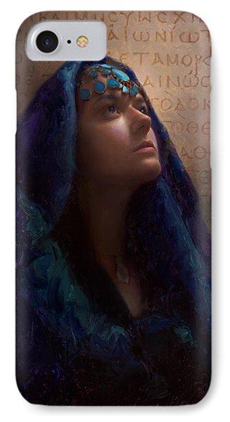 Transformation - Woman With Romans 12 2 Written In Original Greek  IPhone Case by Karen Whitworth