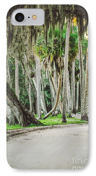 Tree Lined Dirt Road In Vintage IPhone Case by Liesl Marelli