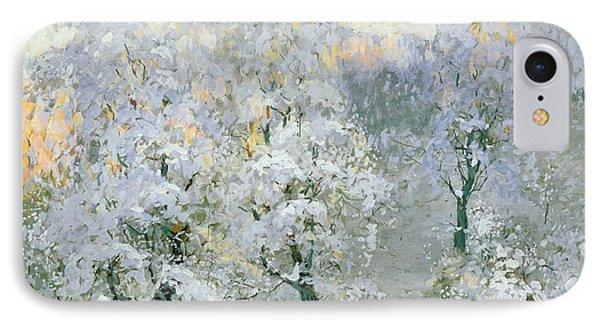 Trees In Wintry Silver Phone Case by Konstantin Ivanovich Gorbatov