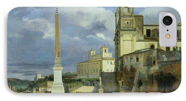 Trinita Dei Monti And The Villa Medici In Rome IPhone Case by Francois Marius Granet