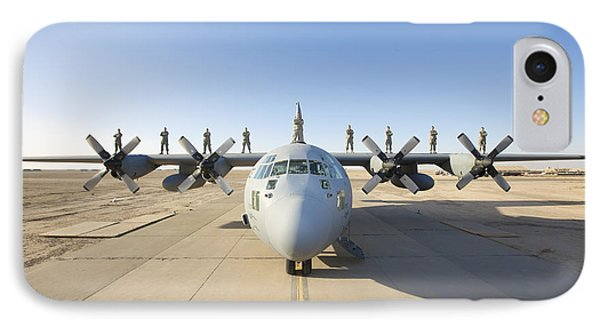 Troops Stand On The Wings Of A C-130 Phone Case by Terry Moore
