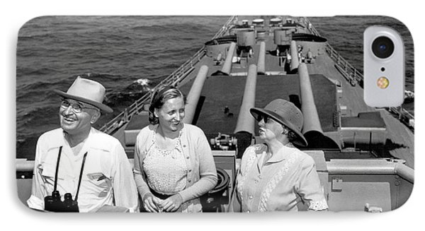 Truman Family At Sea IPhone Case by Underwood Archives