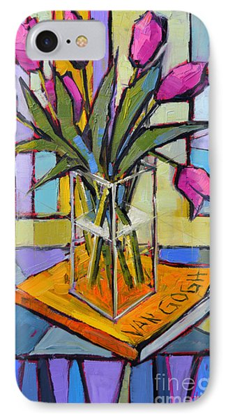 Tulips And Van Gogh - Abstract Still Life IPhone Case by Mona Edulesco
