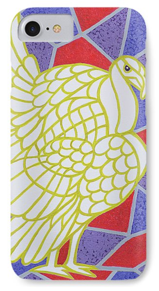 Turkey On Stained Glass IPhone 7 Case by Pat Scott