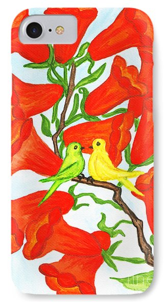 Two Birds On Branch With Flowers Campsis IPhone Case by Irina  Afonskaya