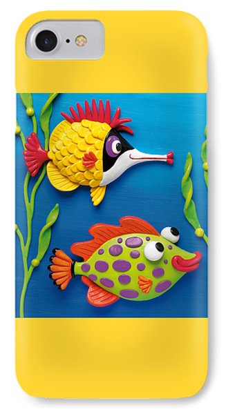 Two Clay Art Tropical Fish IPhone Case by Amy Vangsgard