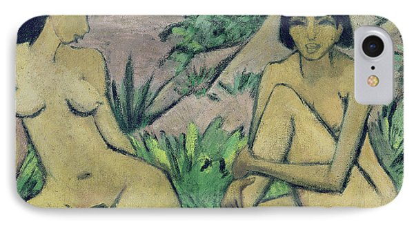Two Female Nudes In A Landscape, 1922 IPhone Case by Otto Muller or Mueller