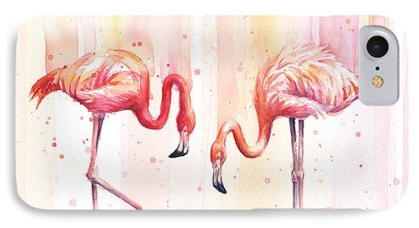 Two Flamingos Watercolor IPhone 7 Case by Olga Shvartsur