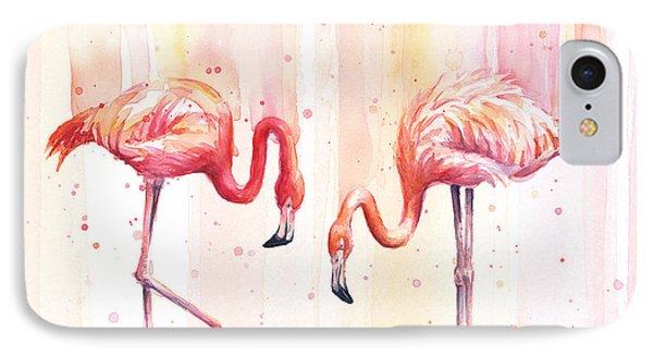 Two Flamingos Watercolor IPhone Case by Olga Shvartsur